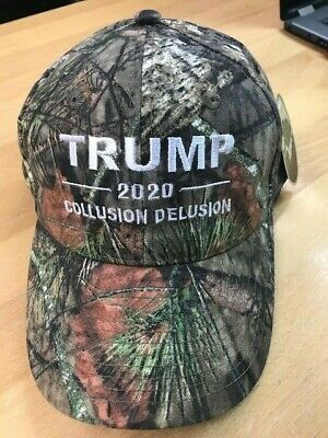 TRUMP 2020 COLLUSION DELUSION Donald Trump Cap Mossy Oak with White Embroidery