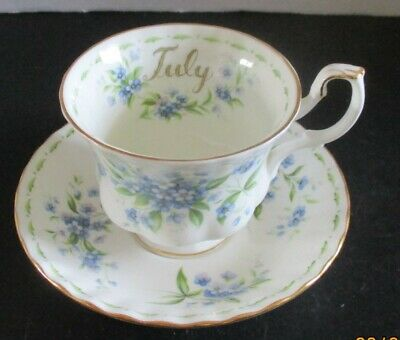 "Royal Albert ""July"" Bone China Tea Cup & Saucer - Flower Of The Month - July"