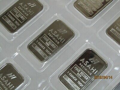 1 TROY OZ ASAHI SILVER BAR 999 Series A Serial # on each bars Sealed by The MINT