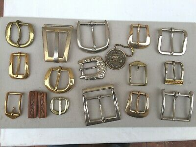 Lot of 15 Antique/vtg Belt Buckles Brass Bronze Metal Western Cowboy RodeoPirate