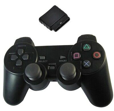 Wireless black Shock Game Controller Joypad Pad for Sony PS2 Playstation 2