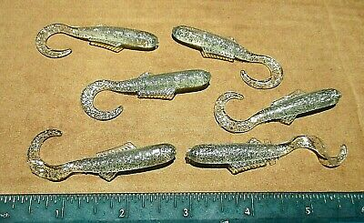 "50ct CHARTREUSE WHITE SHAD 3/""Curly Tail MINNOWS Bass Fishing Baits Walleye Lures"