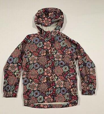 Girls REI Rain Jacket Size Small 8 Floral Brown Hooded Waterproof
