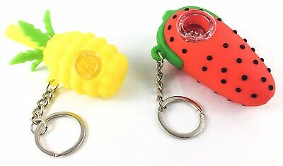 "NEW 3"" Strawberry & 2.75"" Pineapple Silicone Tobacco Smoking Pipe Glass Bowl"