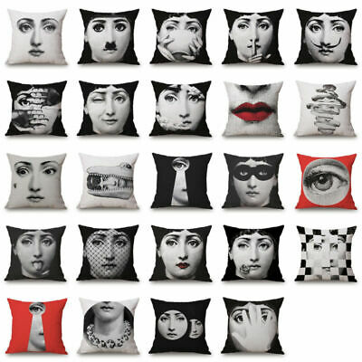 Fornasetti Cotton Linen Face Piero cover Cushion Case Vintage Decorative Pillow