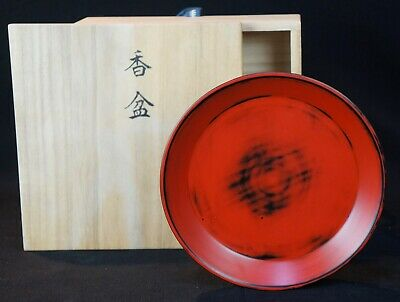 Japan lacquer wood Obon tray 1970s Negoro-nuri Japanese hand craft