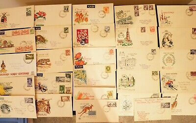 Aust Pre- Decimal First Day Covers X 27 With Album