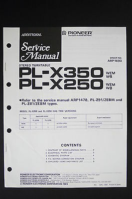 PIONEER PL-X350 PL-X250 Original Turntable Additional Service-Manual/Diagram 117