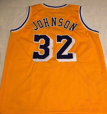 16d08a490 Magic Johnson Yellow Los Angeles Lakers Basketball Jersey Size Large  Stitched
