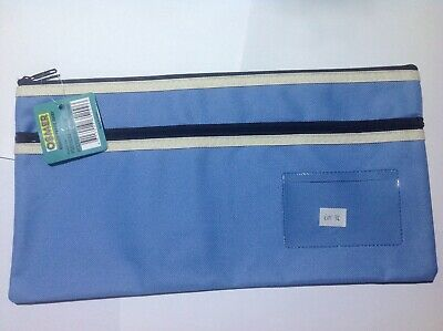 Osmer Pencil Case Light blue 350 x 180 mm 2 black zips with name insert LOT 36