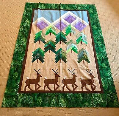 Patchwork lap quilt, home made, winter scene deer snowy mountains, pine trees 😍
