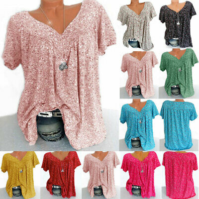 UK Womens Summer V-Neck Floral Blouse Tops Ladies Casual Loose T-Shirt Size 6-24