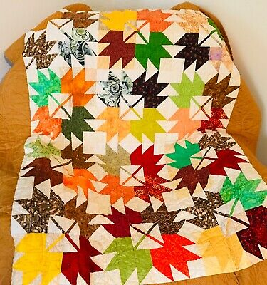 "Patchwork lap/ throw quilt COMPLETED ""Maple leaves"" stunning Autumn colours"