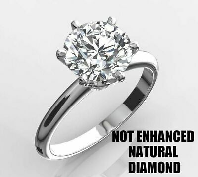 1.50 Carat Real Natural Diamond Engagement Ring Round Cut D Vs2 14K White Gold
