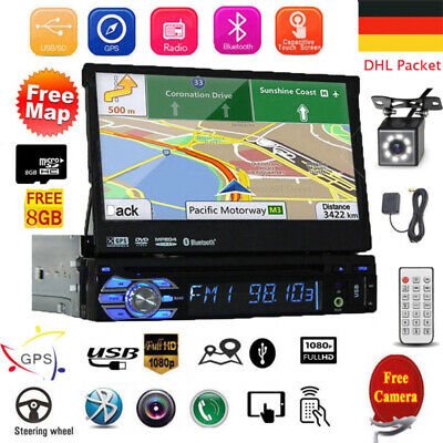 "7"" Autoradio 1Din Mit Gps Navigation Navi Bluetooth Touch Screen Usb Sd Mp3 Map"
