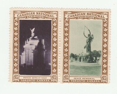 Canada National Exhibition 1937- Prince's Gates & Peace Memorial poster stamp no