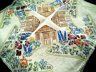 Fabulous 'Fairistytch' ~ Summer Hut & Gardens  ~ Hand Embroidered Tablecloth
