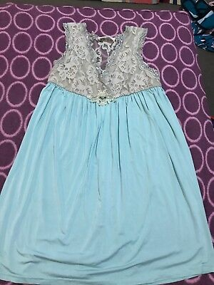Peter Alexander Blue & Beige Floral Lace Nightie Size Small