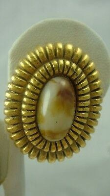 Vintage Oval Doncaster Earth Tone Art Glass Gold Tone Ribbed Clip Earrings
