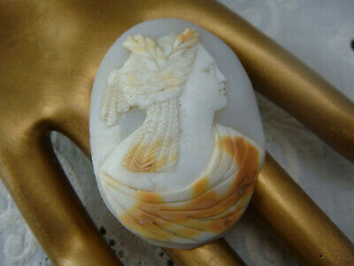 Antique Large Oval Carved Shell Loose Cameo of Roman Goddess 50mm x 38mm