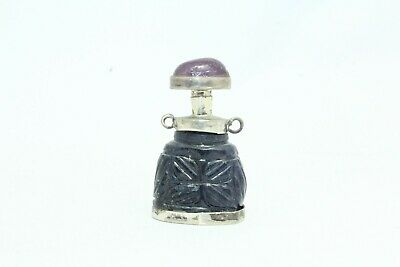 Antique perfume snuff bottle silver blue lapiz lazuli purple Amethyst stone cap