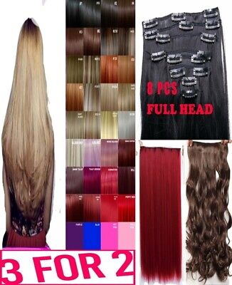 Hair Extensions Clip in Hair real Human Feel Plum Red Burgundy Ginger White Blue