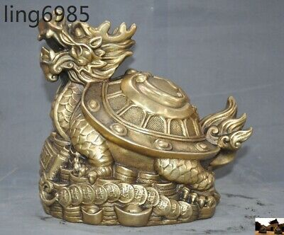 Old China Fengshui beast Brass Yuanbao coin wealth dragon turtle Tortoise statue