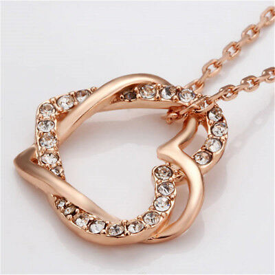 18K Rose Gold Filled Women's Heart Pendant Necklace With Crystal EA