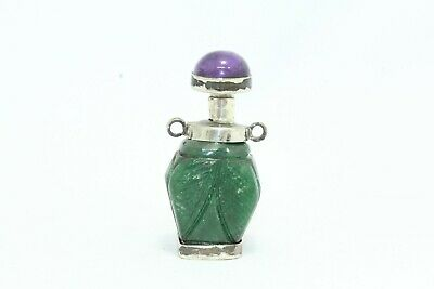 Antique perfume snuff bottle silver green jade round amethyst stone cap