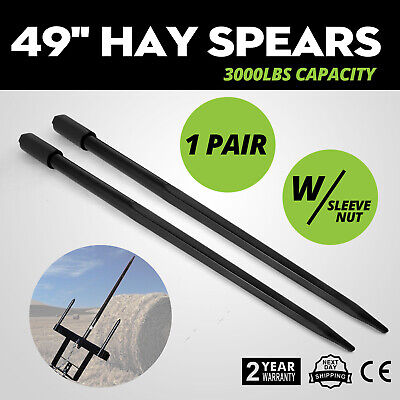 New Two 49 3000 lbs Hay Spears Nut Bale Spike Fork Agricultural Bale Sleeve Top