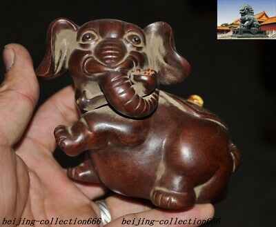Old Chinese yixing zisha pottery Hand-carved animal Elephant Ruyi tea Pet statue