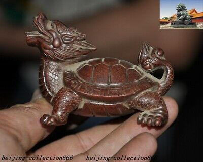 Chinese yixing zisha pottery carved animal Dragon turtle tortoise tea Pet statue