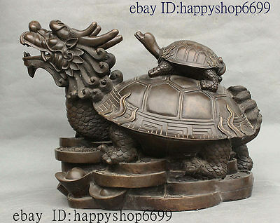 China Tremendous Pure Bronze Feng shui Wealth Dragon Tortoise Turtle Coin Statue
