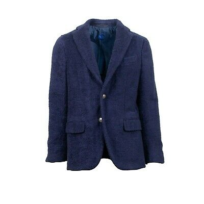 NWT CARUSO Navy Blue Terry Two Button Cotton Sport Coat 52/42 R Drop 8