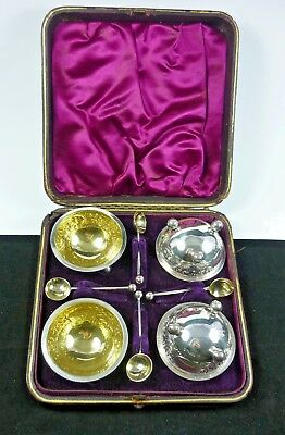 Victorian Cased 1884 Hallmarked Silver And Silver Gilt Salts & Spoons