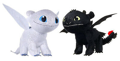 Lotto 2 SDENTATO Peluche FURIA BUIA E CHIARA 28cm DRAGON TRAINER 3 Set nightfury