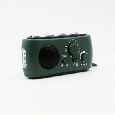 Wind Up Solar Powered USB Rechargeable Portable AM FM Radio Retro Green Small UK