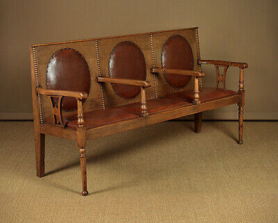 Antique Oak Hall Bench with Arms c.1910.
