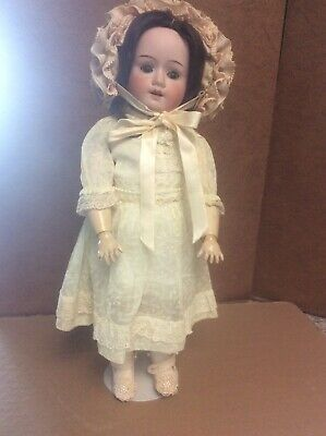 """Antique bisque German doll marked 121 W 0. Beautiful doll & dress 14"""""""