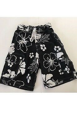 04f61b4916 Men's Merona Black & White Board Swim Shorts Drawstring Pockets Exc. Cond.
