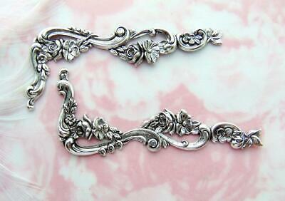ANTIQUE SILVER (2 Pieces) Flower Scroll CORNER Stamping Leaves (C-1105)