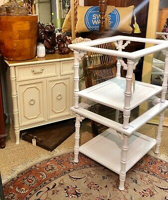 Pair Faux Bamboo White End Tables Side Hollywood Regency Chinese Palm Beach