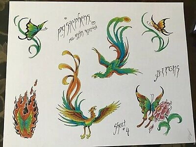Vintage Colored Tattoo Flash Sheet Of Designs Greg Irons P. A. Stephens 1985