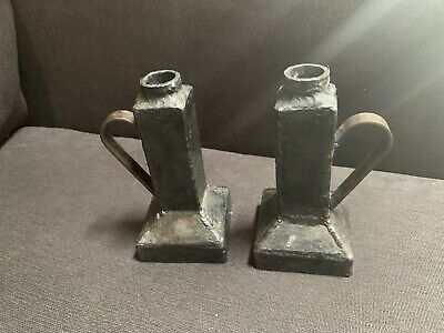 Pair of mission Arts and Crafts Hammered metal Candlesticks With Handles