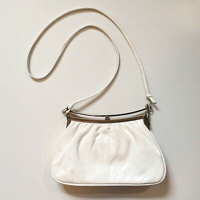 Vtg 100% LEATHER CROSSBODY BAG Purse Convertible Clutch Top Handle 60's White