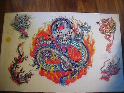 VINTAGE Parlor-Used Tattoo Flash ' Blue DRAGONS '..11 X 17.....HAND-COLORED
