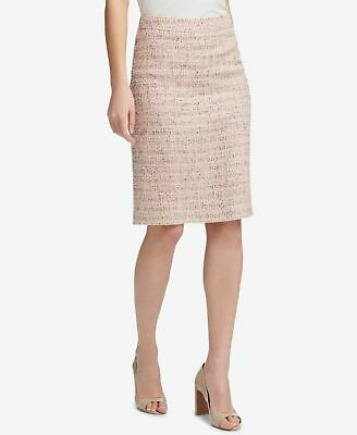 93a075869f $380 Dkny Women's Pink Tweed Metallic Knit Career Straight Pencil Skirt  Size 10