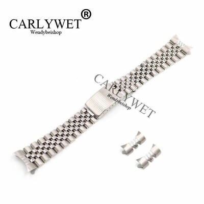 19mm Silver Hollow Curved End Solid Screw Links Watch Band Jubilee For Datejust