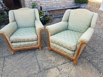 Vintage Pair Of Armchairs 1940s Green , Walnut Veneer