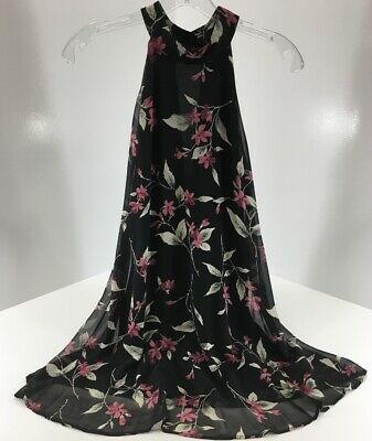 f4bdaa9619c4 Dainty Hooligan Womens Floral Hater Neck Dress Color Black Size Small NWT #
